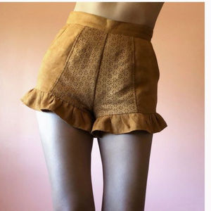 Finders Keepers 8 Suede Shorts Camel Tan Eyelet